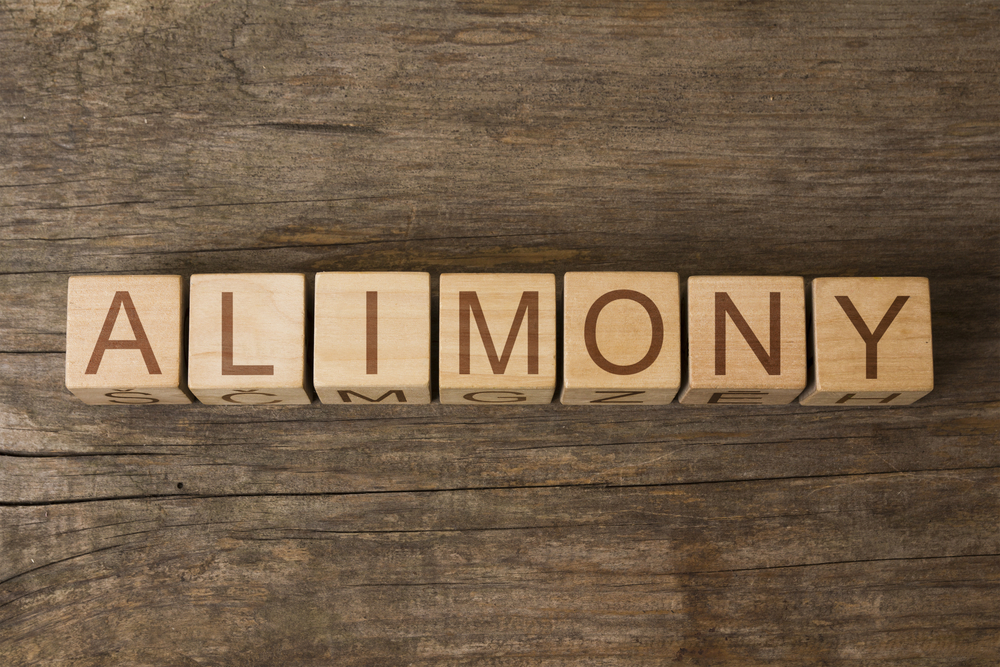 Alimony spelled with wood blocks