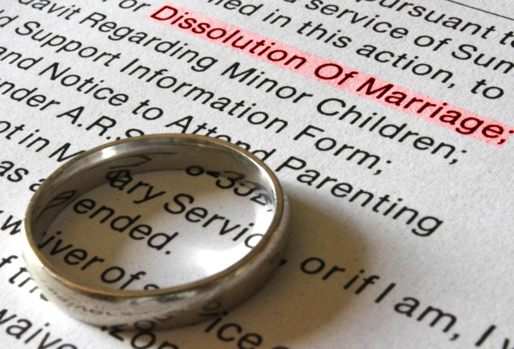 Wedding ring on dissolution paperwork