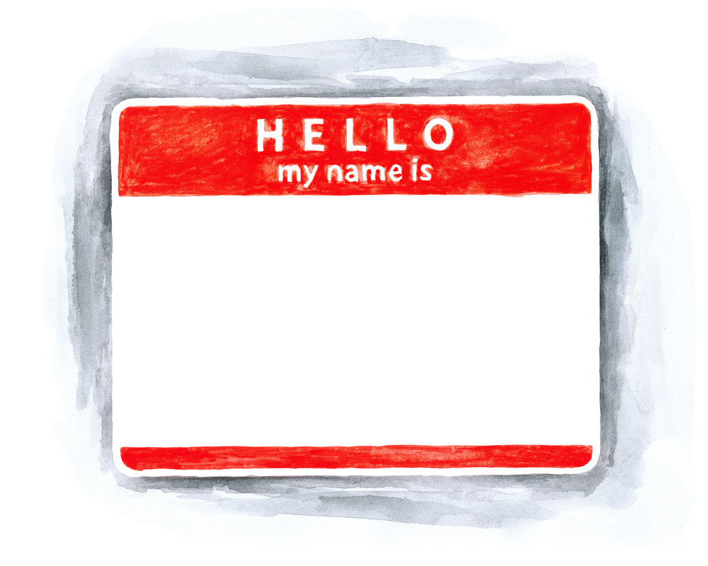 Blank red name tag sticker