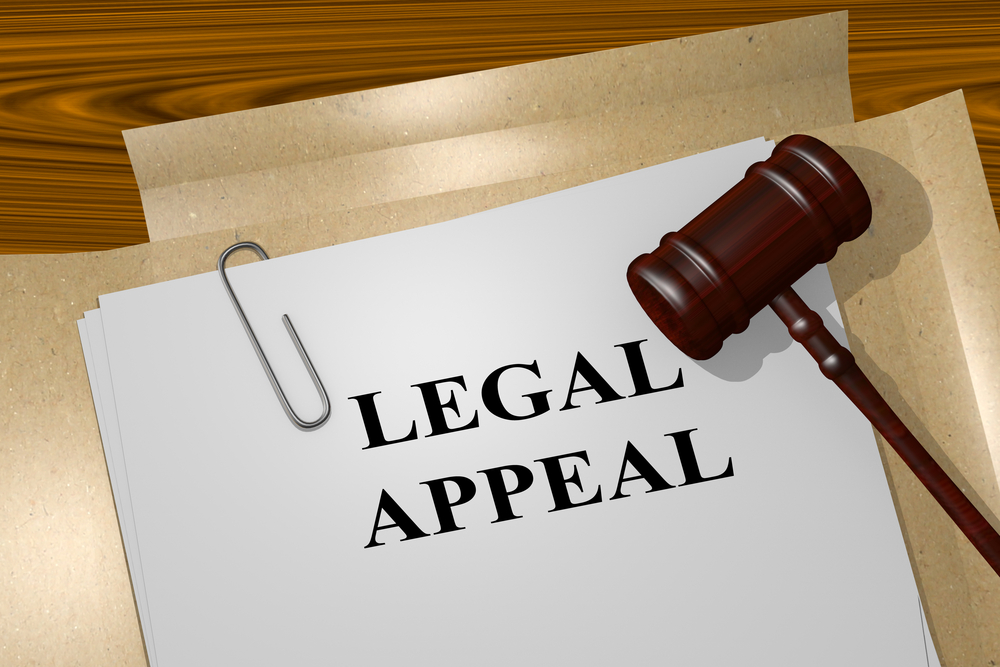 Legal appeal document with gavel