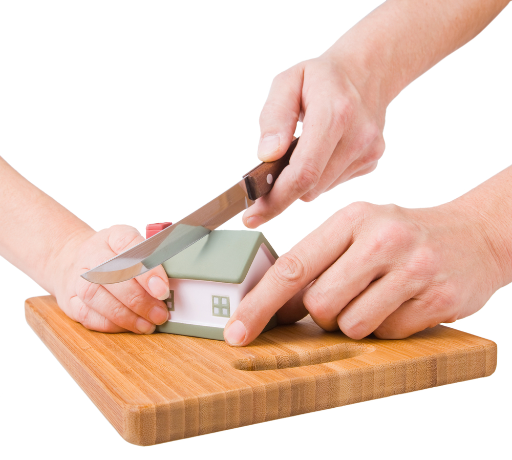 Cutting model of house in half on cutting board