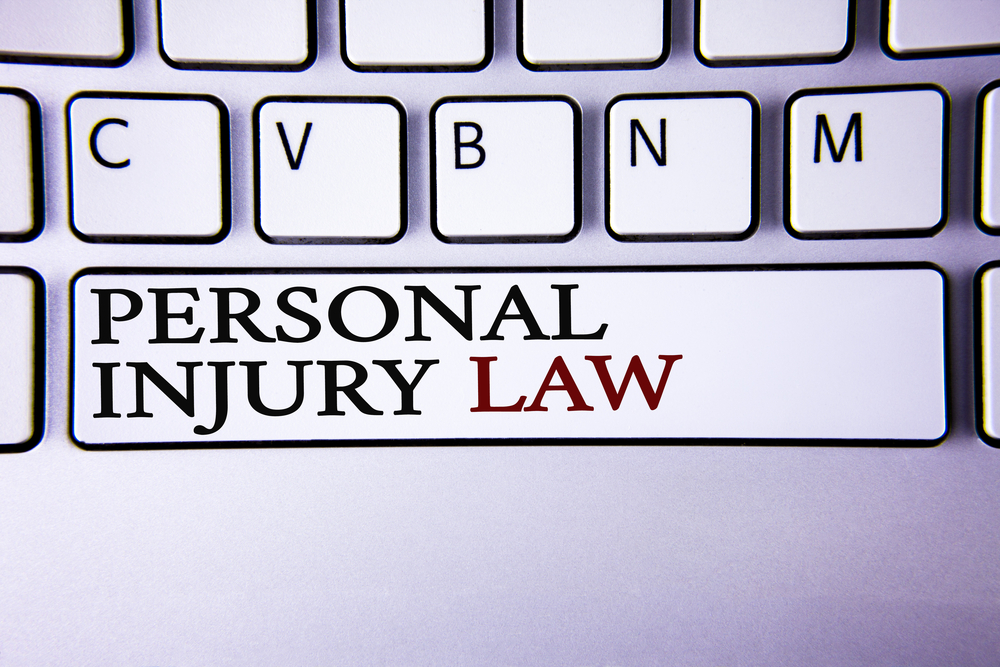 Personal injury law written on keyboard